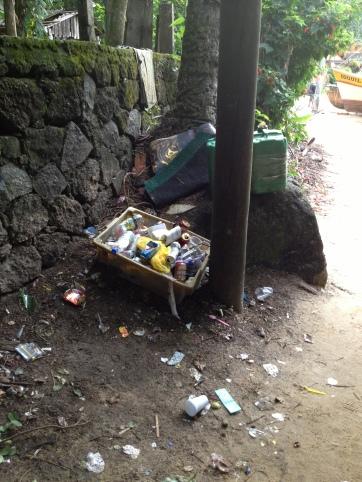 Lixo na entrada da trilha